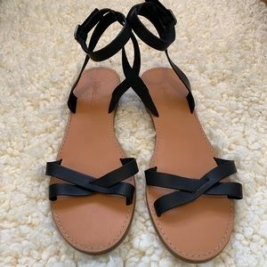 Black Leather Strappy Madewell Sandals